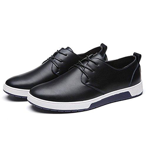 Zzhap Men's Casual Oxford Shoes Breathable Flat Fashion Sneakers 02Black US 12