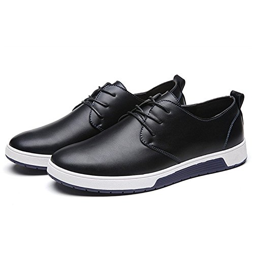 ZZHAP Men's Casual Oxford Shoes Breathable Flat Fashion Sneakers 02Black US 9