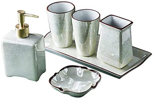 HKAFD Juego de accesorios de baño de cerámica de estilo chino, incluye dispensador de jabón, jabonera, bandejas de accesorios de baño (color predeterminado)