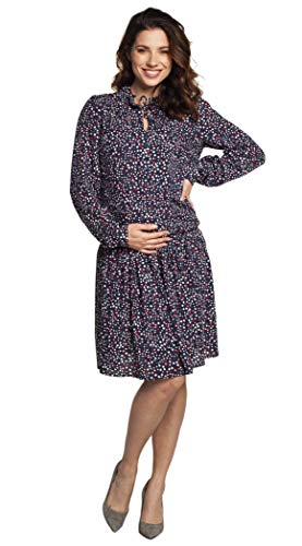 Torelle Maternity Wear Umstandskleid mit Stillfunktion, Modell: Kaira Langarm, blau mit Punkte, L