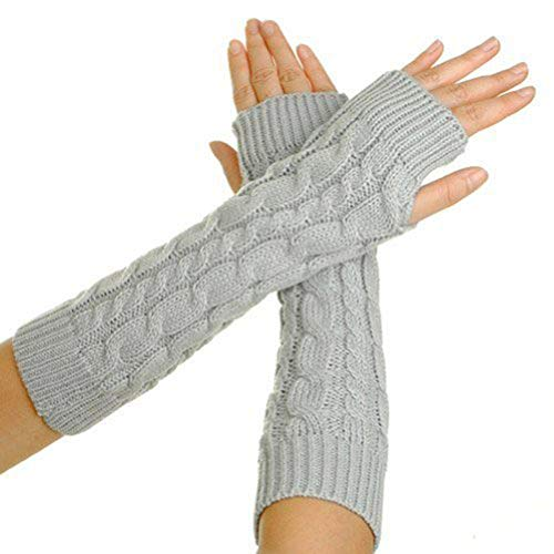 Casue Gestrickte Handschuhe,Winter Armstulpen Handschuhe Warme Stricken Handschuhe Lange Strick Kurzer Gestrickte Halb Fingerlose Fäustlinge Handschuhe