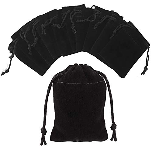 Pouchy 10Pcs Soft Black Velvet Jewellery Pouches Gift Bags with Drawstring (8x10 cm)