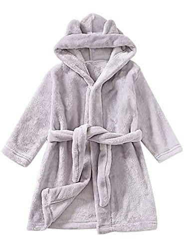 Herefun Bear - Albornoz con capucha para niños, cómodo, con capucha, supersuave, de franela, gris, 5-6 Años