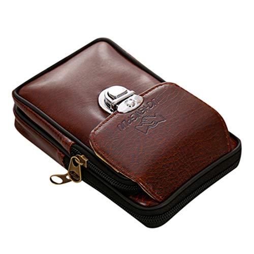 heavKin Men's Fashion Simple Retro Waist Pack Versatile Casual Double-Layer Mobile Phone Pocket Buckle Waist Bag (Coffee, 9X16X4CM)