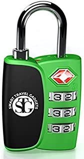 TSA Accepted 3 Digit Combination Luggage Lock for Travel★Smart Open Search Alert Indicator★Bright Color Choices★Heavy Duty, Sturdy, Best Quality, Durable, Customs Friendly★Lifetime Warranty (Green)