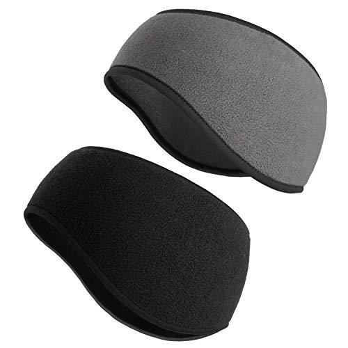 SAVITA 2 Stück Stirnbänder Winter Ohrenwärmer Dehnbar Stirnband Sport Ohrenschützer Thermal Headband für Damen ,Herren, Mädchen (2 Farben) (Schwarz / Grau)