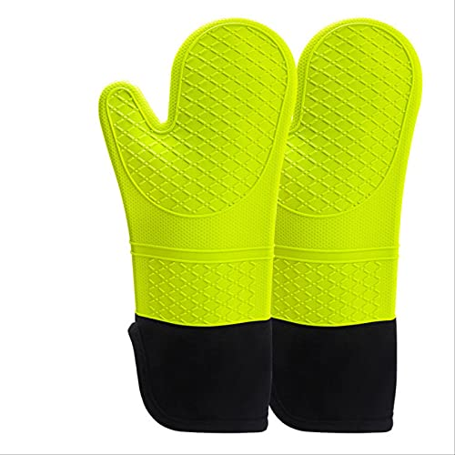 Silicone Gloves Thickened Household Kitchen Insulation Microwave Oven Baking Two-finger Gloves Kitchen 170 grams-green