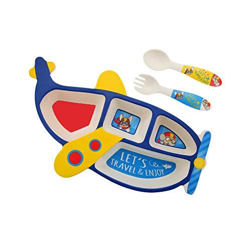 Kinder-Geschirr Set 3pcs Bambusfaser Geteilt Essgeschirr Kit Cartoon Flugzeug Form Speisen Teller Set Blau Fütterung