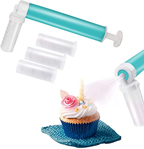 DOMI PRO Aerógrafo Manual, Kit de decoración de Tartas DIY Airbrush Pump Coloring Spray Gun for Decorating Cakes, Cupcakes and Desserts with 4 Containers Labeled Measurements