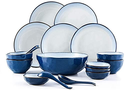 Juego de Platos, Conjunto de vajillas de cerámica con 18 Piezas, tazón/Plato/Cuchara | Conjuntos de Cena, Conjunto de combinación de Porcelana de la Serie de Loto Azul, Azul, Euro Ceramica