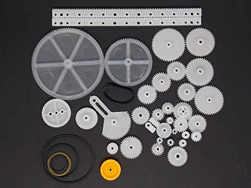 34 tipos de bolsa de engranaje de cremallera y piñón modelo de juguete polea reductor de engranaje helicoidal de plástico kit de bricolaje Junta