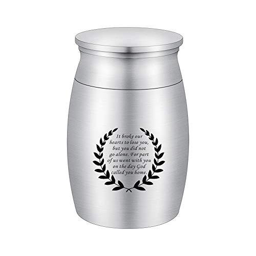 abooxiu Kleine Andenken-Urne für die menschliche Asche, Aluminium, Mini-Urne, Gedenkurne, Miniatur-Graburne zum Teilen von Asche silber