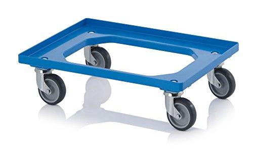 Transportroller blau mit Gummrädern für 60x40 Eurobehälter