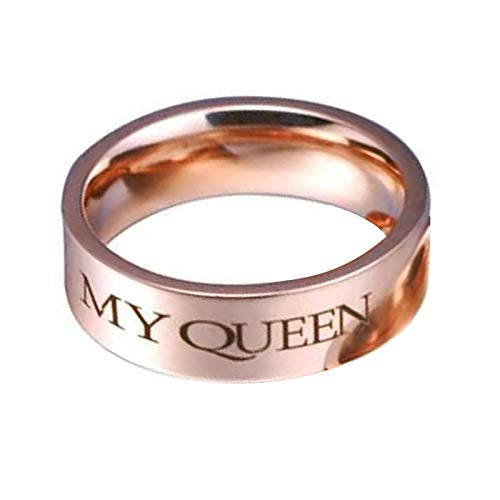 Rubyia Womens Stainless Steel Ring, Dating Ring Engraved My QUEEEN Size T 1/2, 1 Pc