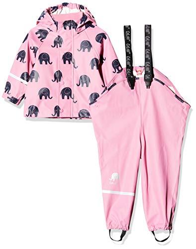 CeLaVi Zweiteiliger Regenanzug Mit Elefanten Druck Und in Vielen Farben Veste Imperméable, Rose (Rosa), 95 (Taille Fabricant: 80) Bébé Fille