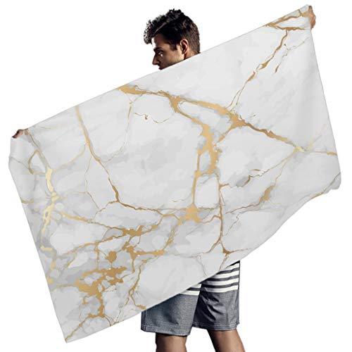 WellWellWell Toalla de playa de mármol blanco de secado rápido, toalla para bufandas, hombres y mujeres, color blanco, 150 x 75 cm