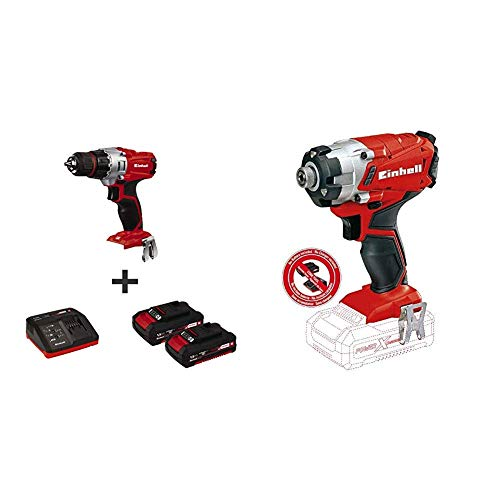 Einhell TE-CD 18/2 18-Volt 1.5Ah Power-X-Change Lithium Ion Cordless Drill w/Case + TE-Ci 18/1 Li-Solo Lithium-Ion Cordless Impact Driver, Kit (w/2x 1.5-Ah Battery + Charger)