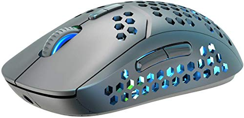 Silent Wireless Mouse 2.4G Hollow Out for Laptop USB Rechargeable Light up Cordless Mouse for PC Computer,3 DPI up to 2400,Breathing Light,6 Buttons Lightweight Mice for Tablet Chromebook Windows Mac