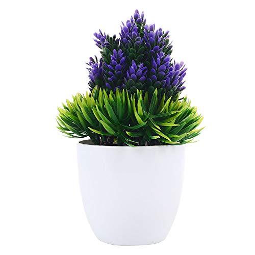 Jiayuane 26 cm Arbustos de Topiaria Artificial Pino Mini Plantas de Mesa de imitación con Maceta Blanca para el hogar, baño, decoración de Oficina, Azul