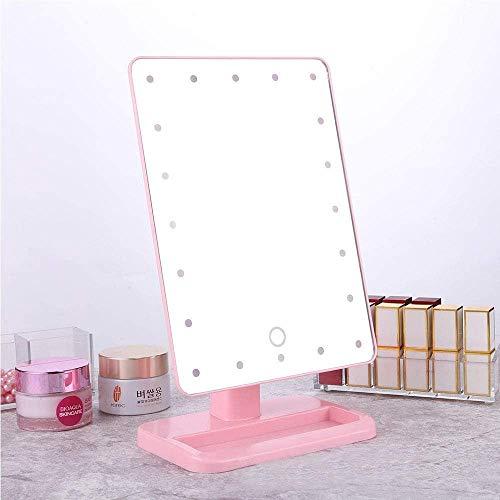 Mirrors Espejos Tocador LED iluminada Maquillaje Escritorio de Escritorio Espejo Belleza vanidad Espejo Pantalla táctil Brillo Regulable 360 rotación USB batería Doble Carga LQHZWYC (Color : Pink)