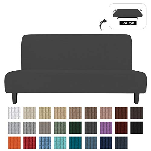 Easy-Going Stretch Sofa Slipcover Armless Sofa Cover Furniture Protector Without Armrests Slipcover Soft with Elastic Bottom for Kids, Spandex Jacquard Fabric Small Checks(futon,Dark Gray)