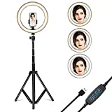Gugusure Ring Light, 10' Led Ring Light with Tripod Stand & Phone Holder for Live Stream/Make Up/YouTube, Selfie Ring Light with 3 Light Modes and 10 Brightness Level, Compatible with iPhone/Android