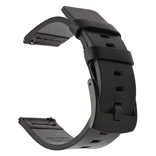 DAAGFC Correa de Cuero Suave para Huawei Watch GT / GT2 46mm Smart Accessory Sport Pulsera Correa para Samsung Active 42mm Watch 20 / 22mm Banda (Band Color : Black, Band Width : 22mm)