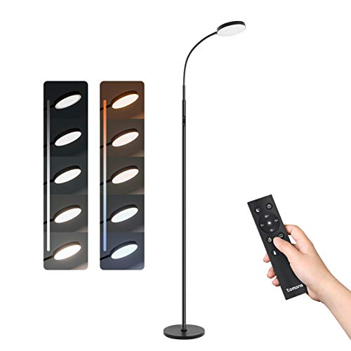 Tomons Stehlampe LED Dimmbar Stehleuchte 12W mit Fernbedienung, Stehleuchte Stufenlos Dimmbar, Stufenlose Farbtemperaturen, für Wohnzimmer Schlafzimmer, Schwarz Flexibler Schwanenhals