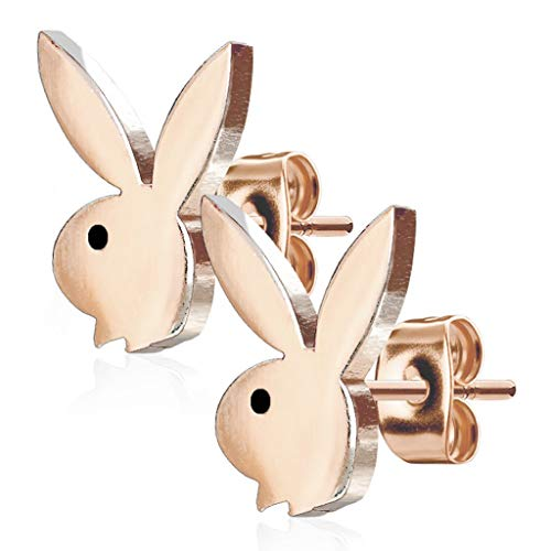 Forbidden Body Jewelry Surgical Steel Playboy Bunny Stud Earrings (Rose Gold Tone)