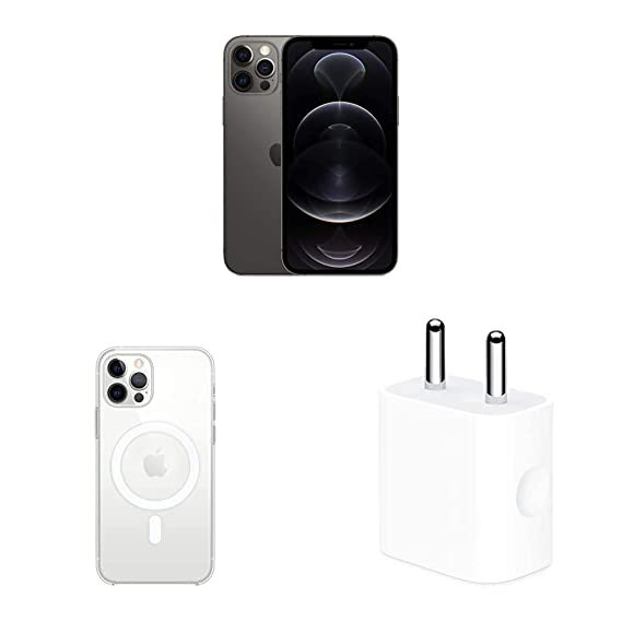 New Apple iPhone 12 Pro (256GB) - Graphite with Apple Clear Case with Magsafe (for iPhone 12, 12 Pro) and Apple 20W USB-C Power Adapter