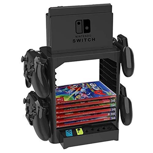 Ponacat Game Storage Tower Halterung für Nintendo Switch Konsolen-Controller-Standregal für Game-Disc-Karten-Konsolen-Host-Controller-Zubehör
