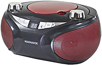 Magnavox MD6949 Portable Top Loading CD Boombox with AM/FM Stereo Radio and Bluetooth Wireless Technology in Red and Black   CD-R/CD-RW Compatible   LED Display  