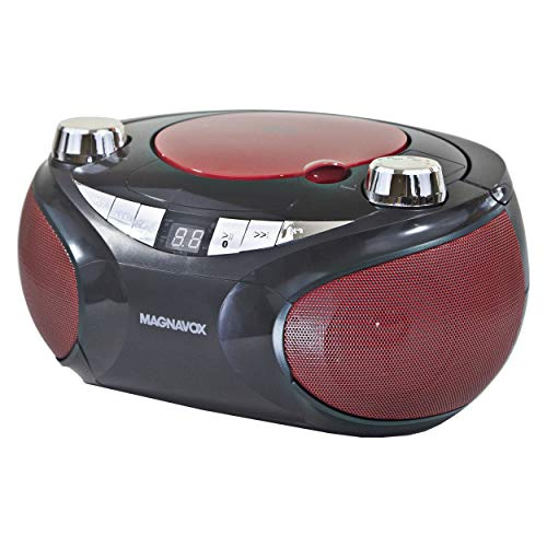 Magnavox MD6949 Portable Top Loading CD Boombox with AM/FM Stereo Radio and Bluetooth Wireless Technology in Red and Black | CD-R/CD-RW Compatible | LED Display |