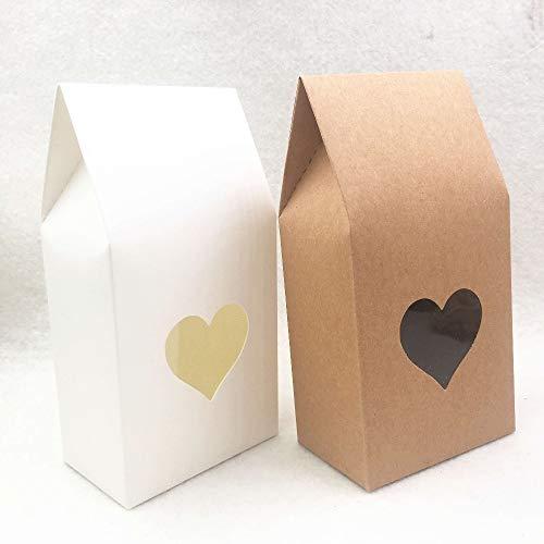 FHFF Kraft paper bag 50Pcs Brown Handmade Candy Bags Paper Brown Stand Up Window Cajas De Regalo Para Bodas/Regalos/JoyasBrown