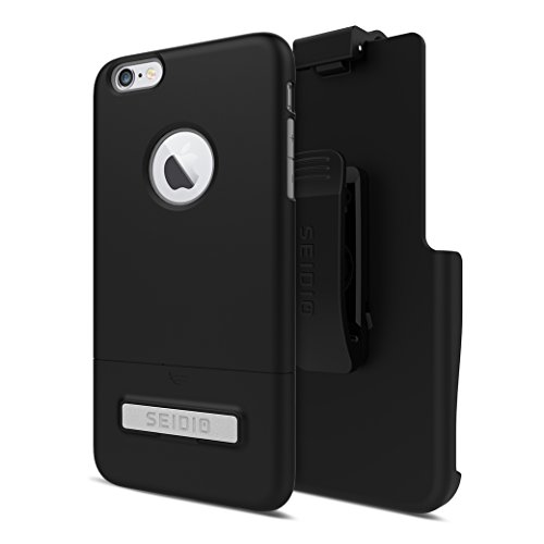 Seidio SURFACE with Metal Kickstand Case & Holster Combo for iPhone 6 Plus/6s Plus - Non-Retail Packaging - Black/Gray
