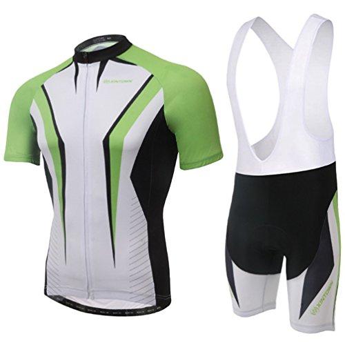 Baymate Homme Respirant Cyclisme Maillot Manches Courtes et Cuissard Pantalon Court 2pcs Combinaison