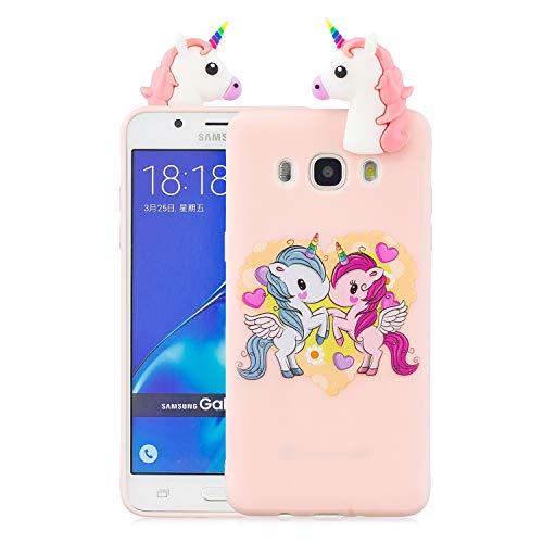 Funluna Cover Samsung Galaxy J5 2016, 3D Unicorno Modello Ultra Sottile Morbido TPU Silicone Custodia Antiurto Protettiva Copertura Gomma Back Cover per Samsung Galaxy J5 2016, Pink