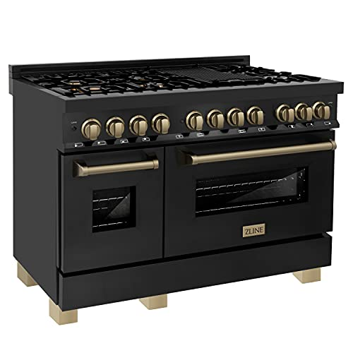"""ZLINE Autograph Edition 48"""" 6.0 cu. ft. Dual Fuel Range with Gas Stove and Electric Oven in Black Stainless Steel with Champagne Bronze Accents (RABZ-48-CB)"""