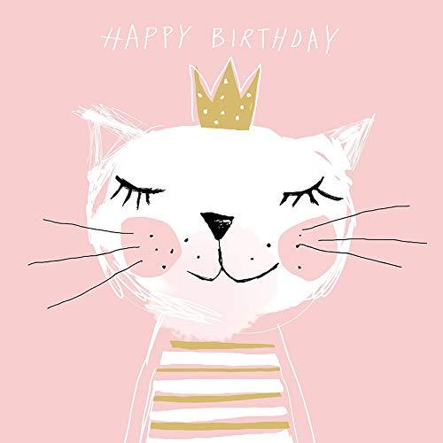 Geburtstags-Servietten Happy Birthday Princess rosa mit Katzen-Motiv - Geburtstags-Deko/Geburtstags-Feier/Tisch-Deko Geburtstag Mädchen Prinzessin Krone Frau Kätzchen Mottoparty (20 Servietten)