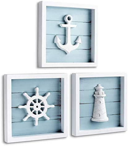 TideAndTales Nautical Wall Decor Set of 3 7 x7 Rustic Beach Decor with 3D Anchor Lighthouse product image