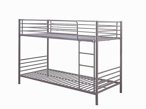 Commodus - Litera para dos personas, estructura de cama de metal, cama con escalera, cama doble con escalera, cama de metal, 90 x 200 cm, color plateado y gris