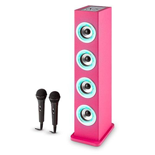 auna Karaboom PK LED Juego de Karaoke para niños - Torre Audio de Banda Ancha , Bluetooth , USB , AUX , Reproductor MP3 , Potenciador Bajos , Radio VHF , Rosa