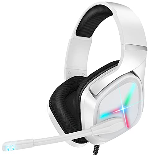 Nulliplex Cuffie Gaming per PS4, Cuffie da Gaming con Microfono e Bass Stereo,LED e 3D Surround StereoAudioGaming Headset, per PS4 PS5 Xbox Series X|S Xbox One Switch PC Mac Laptop Tablet