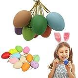 12 Pezzi Uova di Pasqua Decorate, Uova Pasquali,Uova di Pasqua,Uova Dipinte a Mano,Uova di Pasqua con la Corda, Artigianato Pasquale, Uova di Pasqua da Appendere per Decorazioni e Regali