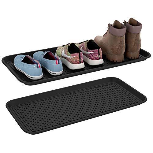 Homfa 2 Bandejas Zapatos Mojados Bandeja Plástica para Plantas Alfombra Comedero Perro y Gato Negro 76x38x3cm