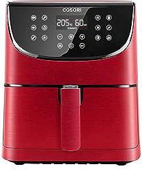 COSORI Heißluftfritteuse 5,5L XXL Rot Friteuse Heissluft Fritteusen Air Fryer mit Digitalem LED-Touchscreen, 11 Programmen, Vorheizen&Warmhalten, Shake-Modus, 100 Rezepte auf Deutsch, ohne Öl, 1700W