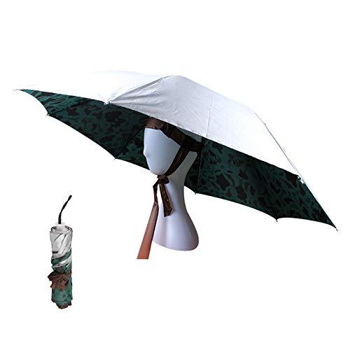 OMUKY Kopf Regenschirm Faltbarer Regenschirmhut Sonnenschirm Hut angelschirm klein für Damen Herren Golf, Angeln, Gartenarbeit,Fotografie,Wandern(Grün-Silber, 1 Stück)