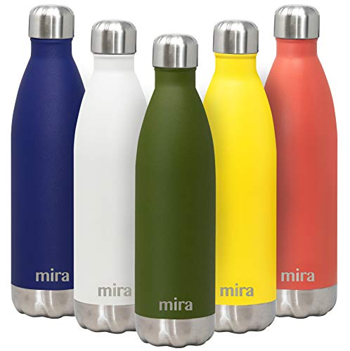 MIRA 25 Oz Stainless Steel Water Bottle | Double Walled Vacuum Insulated Cola Shape Thermos Flask | 24 Hours Cold, 12 Hours Hot | Reusable Metal Water Bottle | Leak-Proof Sports Bottle | Olive Green
