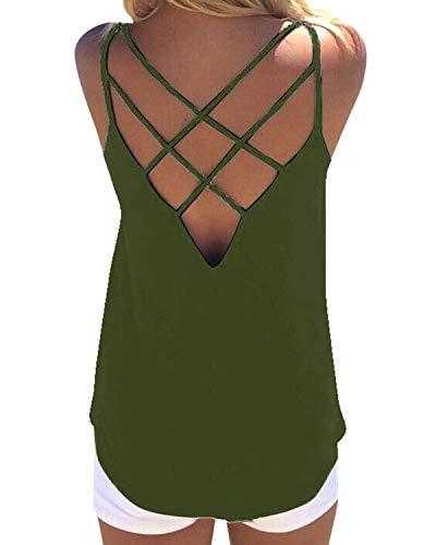 YOINS Camiseta de Tirantes con Cuello en V para Mujer Camisas sin Mangas Blusas Verano Encaje Atractivo