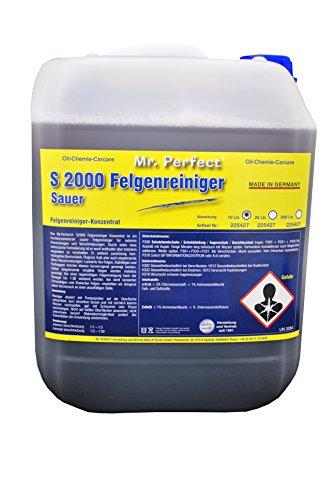 Mr. Perfect® S 2000 Felgenreiniger, 10 Liter - säurehaltiges Konzentrat mit hoher Schmutzlösekraft entfernt Flugrost und hartnäckigsten Bremsstaub